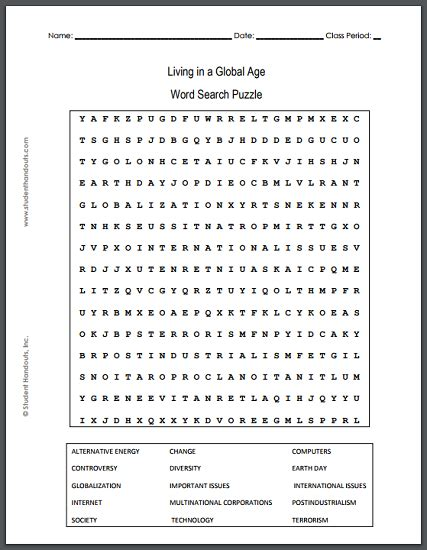 living   global age globalization word search puzzle