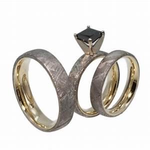yellow gold meteorite ring set black diamond princess With black diamond wedding rings his and hers