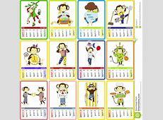 Holidays Calendar For 2016 With Cute Monkey Stock Vector