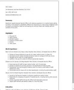 resume for security officer position professional hospital security officer templates to showcase your talent myperfectresume