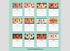 Calendário 2018 com personagens em design plano Baixar