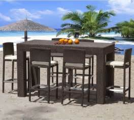 outdoor wicker bar height dining table outdoor pub and
