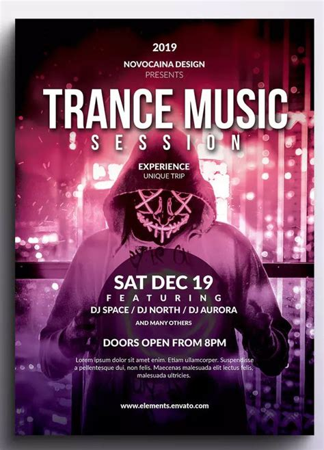 Our free collection of 1500+ best flyer design templates is practically endless. Trance Music Event Flyer & Poster by Novocaina on | Flyer design templates, Event poster design ...