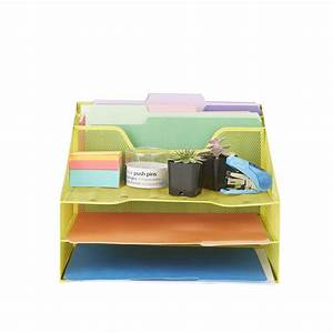 Mind, Reader, 3-tier, Mesh, Desk, File, Organizer, Tray, With, 5, Compartments, Yellow