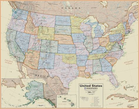 united states wall map laminated boardroom style 19 99