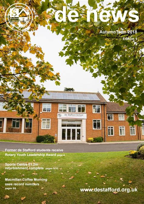 de stafford school newsletter autumn term  edition