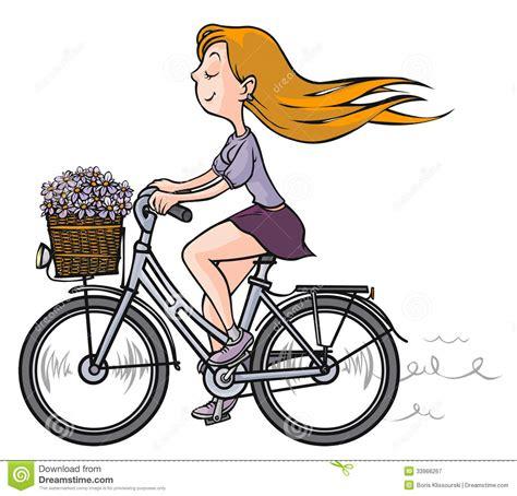 ragazza romantica sulla bicicletta illustrazione  stock