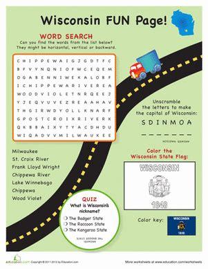wisconsin fun facts worksheet education com