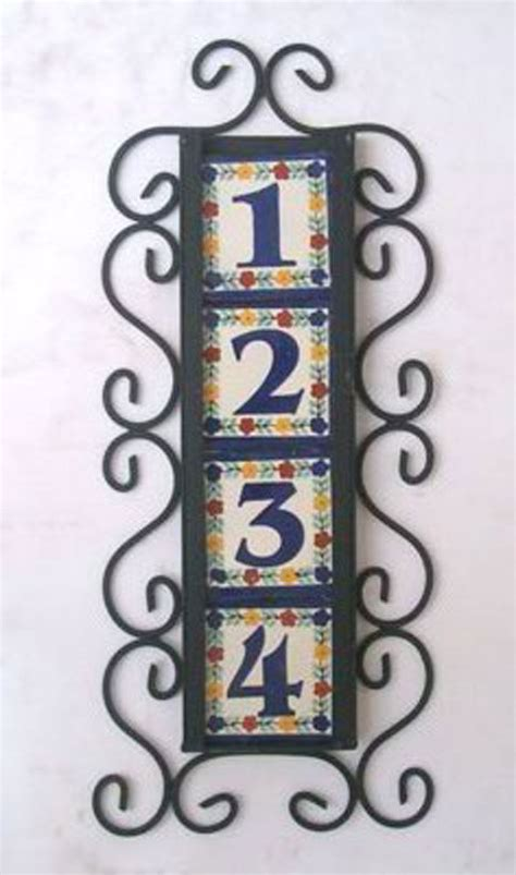 4 mexican tiles talavera house numbers vertical iron