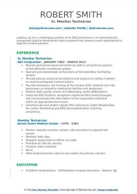 monitor technician resume samples qwikresume