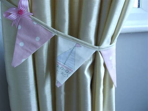 Curtain Bunting Tie Backs In Pink Seaside Boats Beach Huts