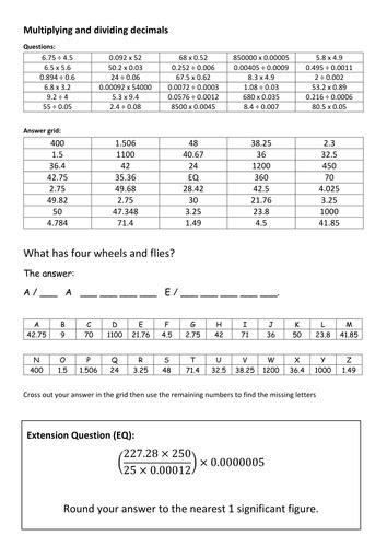 multiplying  dividing decimals code breaker