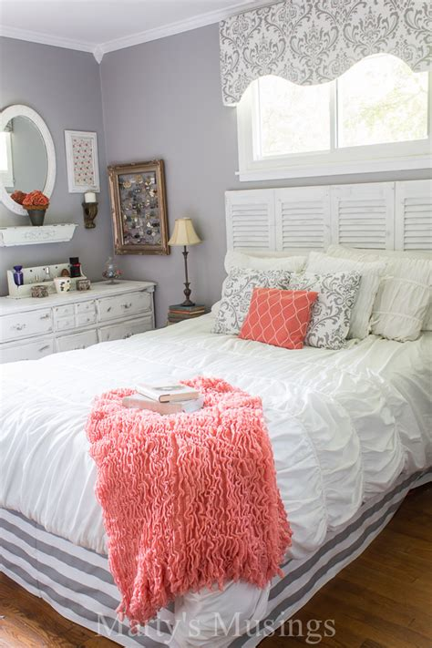gold and pink bedding gray and coral bedroom makeover