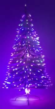6 ft white artificial holiday christmas tree w fiber optic multi colored light ebay