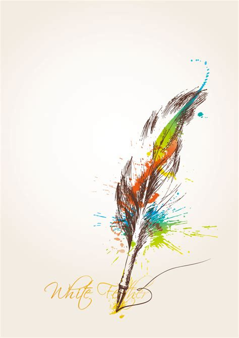 colorful feather quill  vector graphic