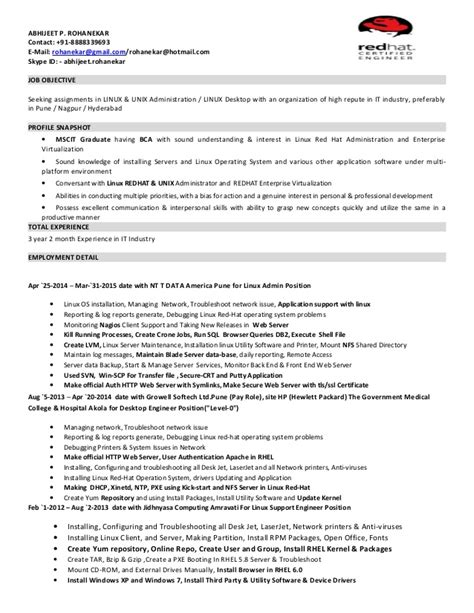3 year 2 month exp resume linux admin application support
