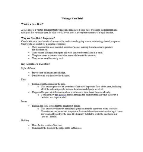 legal brief 40 brief exles templates template lab