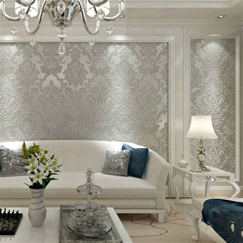 browncream whitebeigegrey damask wallpaper  embossed