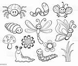 Bug Coloring Cartoon Line Cute Vector Illustration Insect Butterfly Bee Fly Clip Phenomenon Dragonfly Fire Natural Istockphoto sketch template