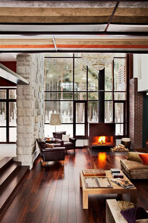 natural chalet living room designs digsdigs