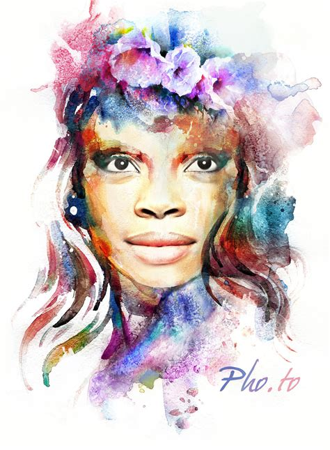 female watercolor face  hole photo effect