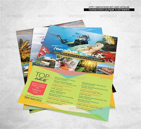 tourism calendar flyer template photoshop