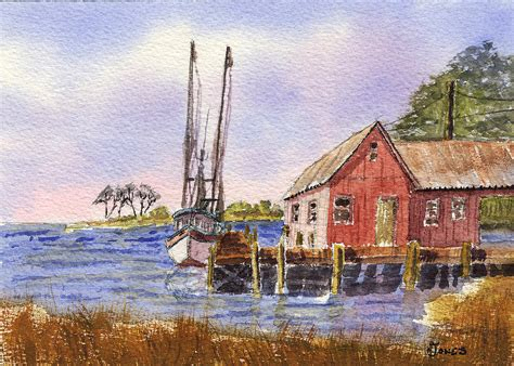 Shrimp Boat House by Shrimp Boat Boat House Coastal Dock Painting By Barry
