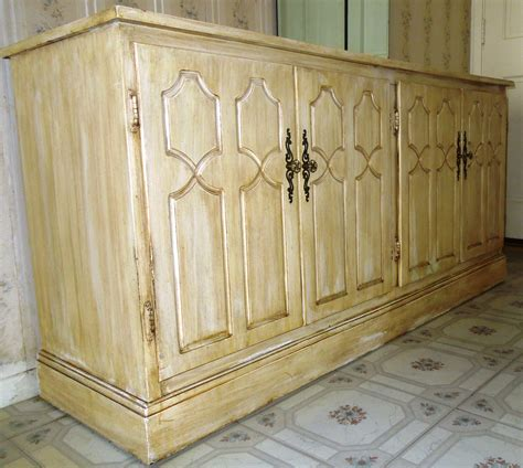 Granite Marble Top Credenza Consignment Buffet Table