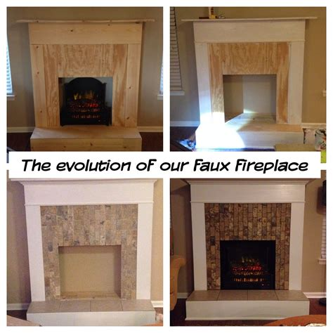 fireplace ideas diy faux fireplace wood trim tile and an electric log