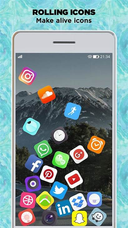 Icon Rolling Launcher Fond Icone Screen Apk