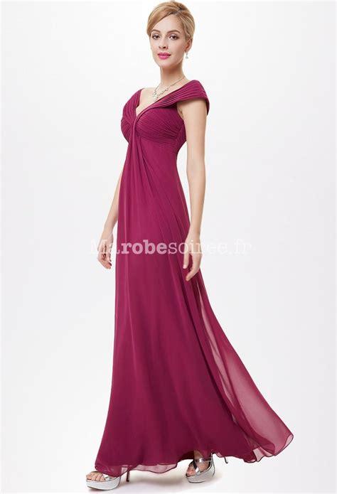 robe pour mariage framboise robe longue fluide et d 233 collet 233 en mousseline