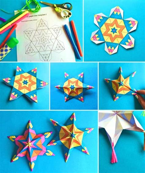 mexican paper star ornaments tutorial printable craft