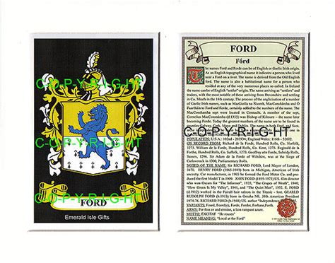heraldic mounts ford family crest  history