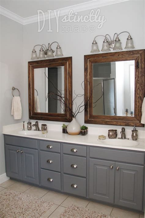 painted bathroom cabinets gray  brown color scheme