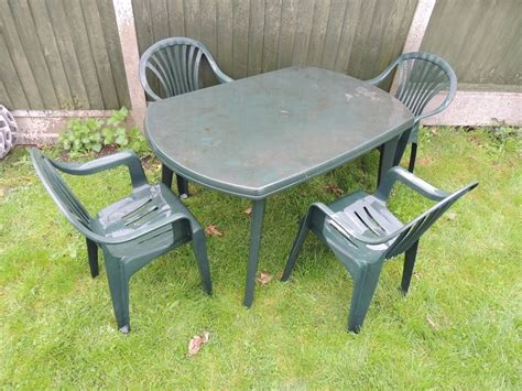 plastic table and chairs patio garden furniture set large plastic table and 4