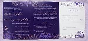 shades of purple and brown floral swirl dot trifold weddi With wedding invitations greensboro nc