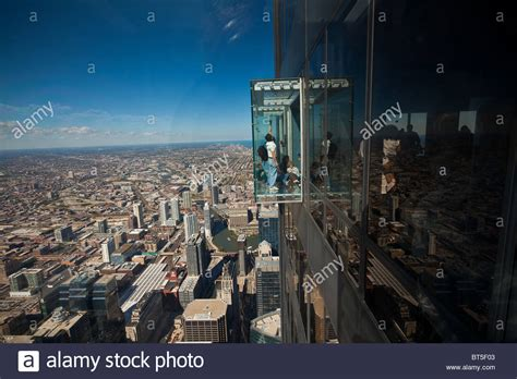 Willis Tower Observation Deck Wait Time by Tourists In Glass Balcony Skydeck Observation Deck View