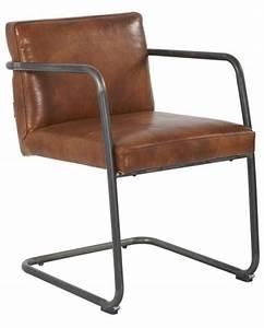 Chaise Industrielle Cuir : chaise industriel cuir marron structure acier ~ Teatrodelosmanantiales.com Idées de Décoration
