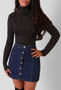 Chanelle Blue Button Up Denim Mini Skirt | Pink Boutique