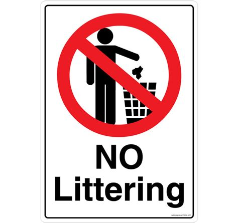 No Littering  Test Safety Sign Store