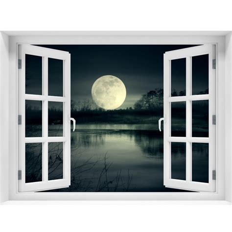 window wall mural full moon rise peel and stick fabric illusion 3d wall decal photo sticker j