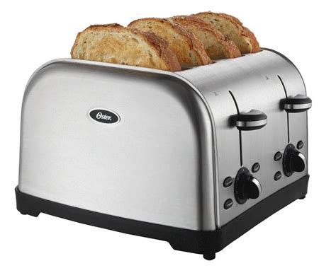 in toaster oster 4 slice toaster brushed metal