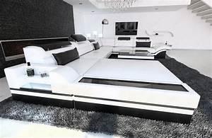 Sofaüberwurf Für Xxl Sofa : ledersofa mega wohnlandschaft mezzo xxl couch mit led beleuchutung weiss schwarz ebay ~ Bigdaddyawards.com Haus und Dekorationen