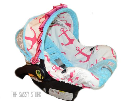 Pink Aqua Anchor And Grey Infant Car Seat Cover By