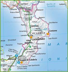 Large map of Calabria