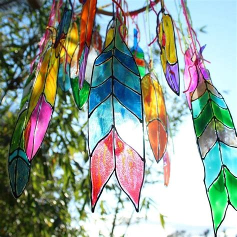stained glass projects for outdoors faux stained glass feathers 183 how to make a mobile 183 art on cut out keep