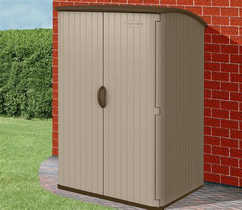 suncast outdoor vertical storage shed conniston three vertical shed by suncast gardensite co uk
