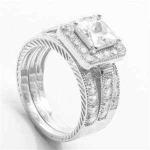 Ring Set Silber : princess cut sim diamond engagement ring 3pc wedding band set sterling silver ebay ~ Eleganceandgraceweddings.com Haus und Dekorationen