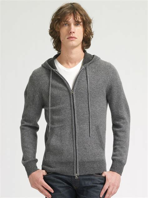 sweater with hoodie lyst vince hoodie sweater in gray for