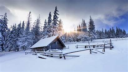 Winter Wallpapers Background Christmas Farm Mountains